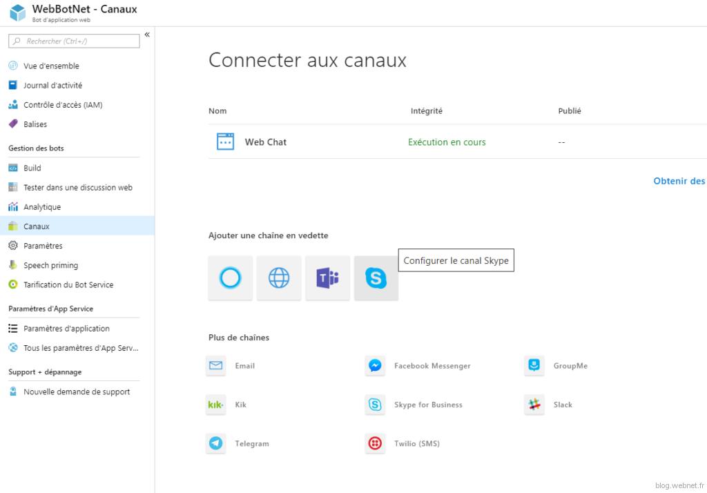 Connexion au canal Skype