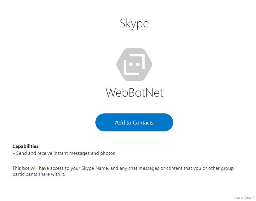 Ajout de l'agent aux contacts Skype
