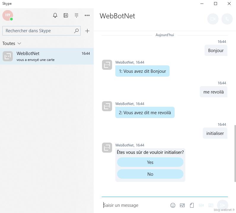 Demo du Chatbot sur Skype