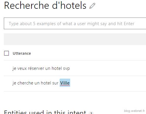 REcherche d'hôtels (Interface LUIS)