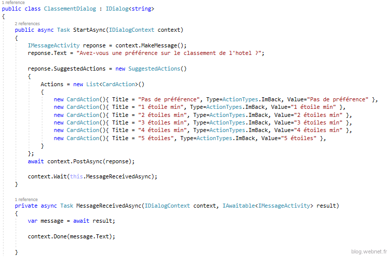 Code ClassementDialog