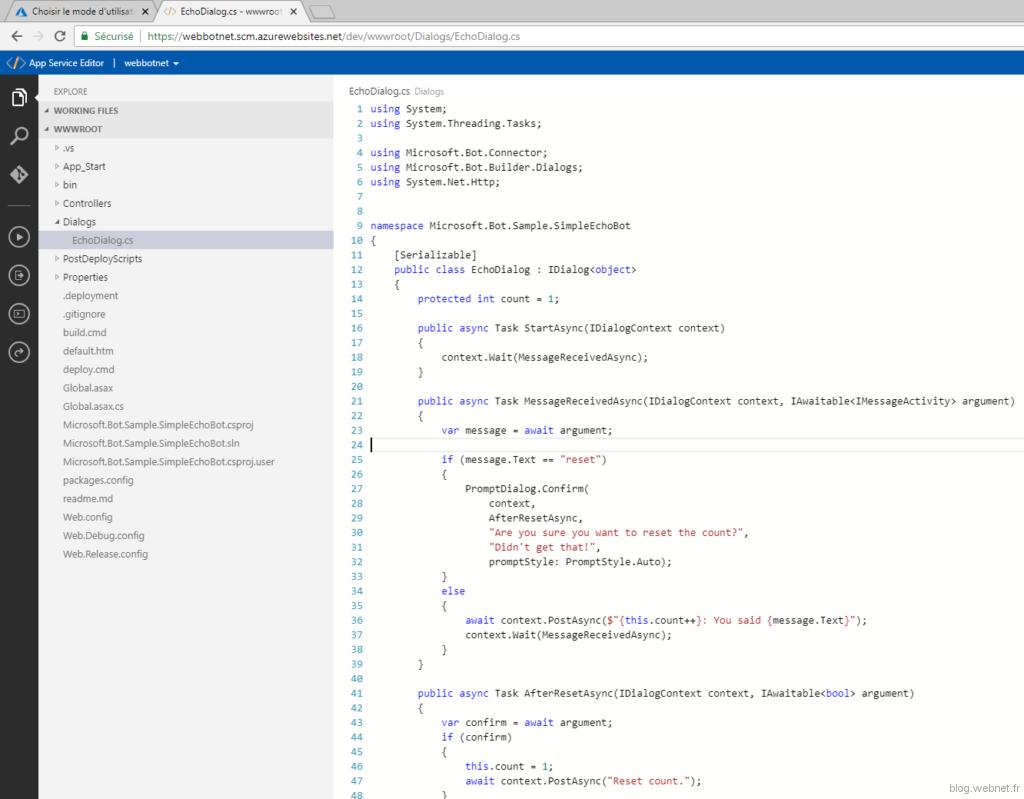 Editeur de code Azure
