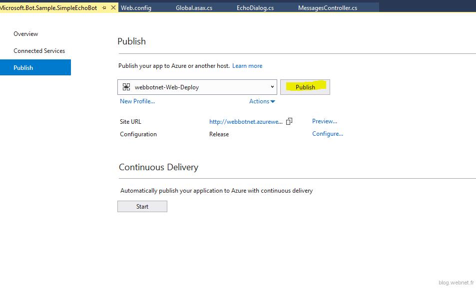 Publier avec Visual Studio